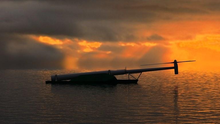 Windflip i solnedgång