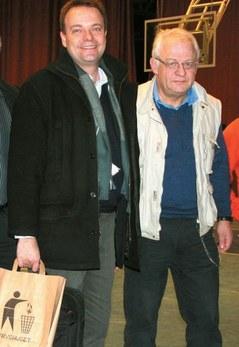 Arbeidsmarkedsminister Sven Otto Littorin, grunnlegger av Fryshuset,direktør Anders Carlberg (t.h).